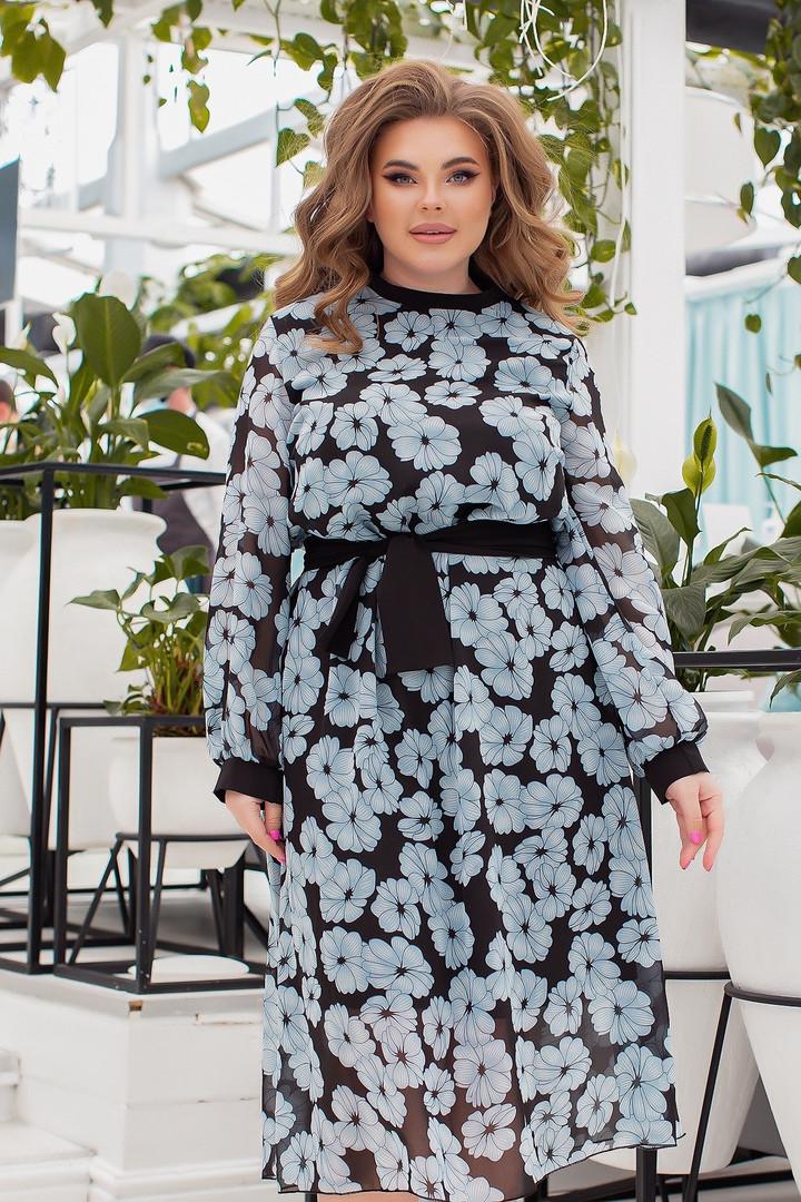 Жіноче шифонове плаття великого розміру.Розміри:48/62+Кольору
