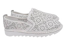 Туфли женские летние на низком ходу из натуральной кожи, белые Li Fexpert