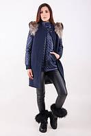 TM Ozze Пальто женское Т 32 с енотом синее OZZE