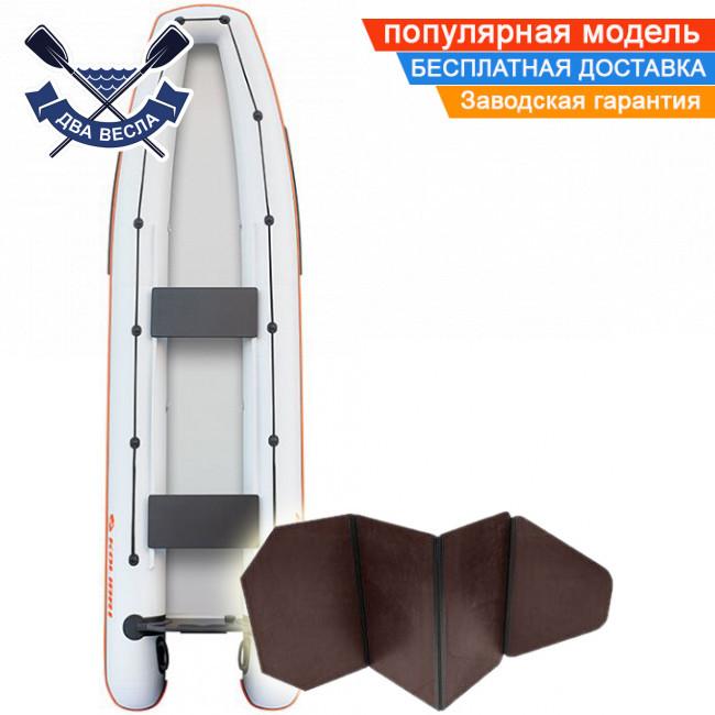 Лодка каноэ Kolibri КМ-390C трехместная с жестким дном слань-книжка