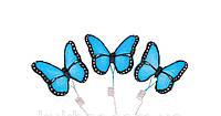 Сахарное украшение из мастики бабочки голубые набор из 3 штук