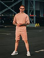 Мужские шорты и футболка на лето оверсайз коричневый
