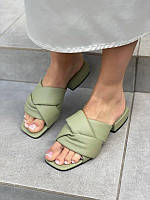 Шлепанцы косичка кожаные хаки на низком каблуке, фото 1