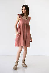 Приятное короткое хлопковое платье на широких бретелях с рюшами свободного кроя в 5 цветах в размере S-M, М-L.