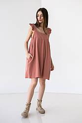 Приємне короткий бавовняне плаття на широких бретелях з рюшами вільного крою в 5 кольорах в розмірі S-M, М-L.