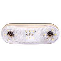 Повторитель габарита (овал) 18 LED 12/24V белый (TH-1830-white)