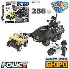 Конструктор KB 126  полиция,бронетранспортер,джип, мотоцикл,фигурки,258дет,кор, 25-19-5,5см