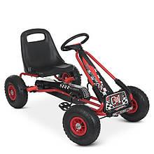 Карт M 0645 жел, педальный, ручной тормоз, надувн колеса, цепная передача, красный