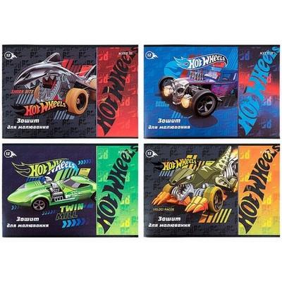 Альбом для малювання Kite 12 арк скоба, лак+УФ, Hot Wheels