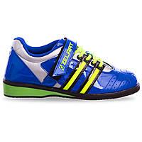 Штангетки взуття для важкої атлетики PU синьо-салатові OB-1265 40 (26 см)