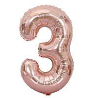 Фольгований куля-цифра 3 рожеве золото 80см в упаковці Китай