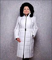 TM Ozze Пуховик женский К 103 макси белый с черным мехом OZZE