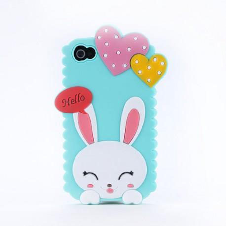 Чохол Cute Heart Hello Rabbit Зелений для IPhone 5/5S
