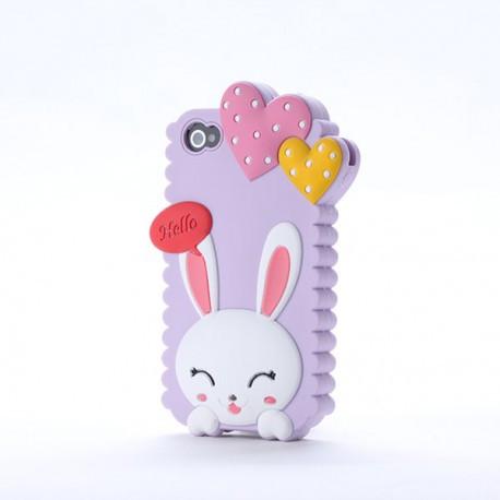 Чохол Cute Heart Hello Rabbit Фіолетовий для IPhone 5/5S