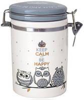 Банка керамическая Be Happy «Совушки» 1.2л, крышка с защелкой