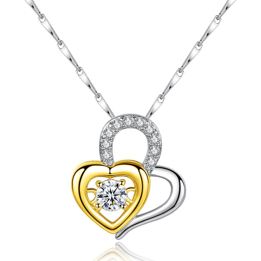 Кулон сердце из двух половинок, медсплав, женская подвеска СС1736-75