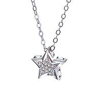 "Женский кулон ""Звезда"", медсплав, цепочка серебряного цвета с стразами, цепочка в виде звезды СС1760-75"