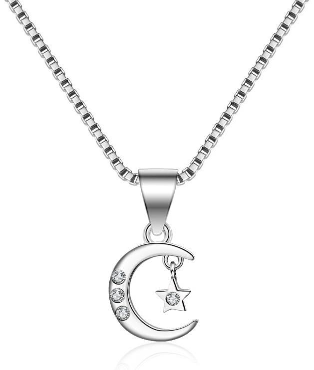 Кулон полумесяц и звезда, медсплав, женская подвеска с цепочкой CC1713-75