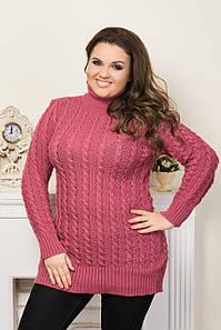 Светр великого розміру Ганна горло(6 кол), светр для повних, легкий жіночий светр