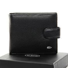 Кошелек портмоне мужской кожаный на кнопке черный внутри монетница Dr. Bond MS-28