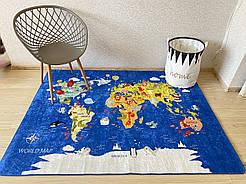 """Килим в дитячу """"Карта світу"""" 140*190 331"""