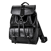 Мужской черный рюкзак, рюкзак из эко-кожи для мужчин, повседневный кожаный рюкзак СС-3634-10