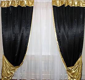 Комплект декоративних портьєр, колір чорний з золотим 004дк