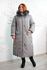 Пальто женское большого размера зимнее длинное Венера (2 цвета), зимове пальто жіноче великого розм