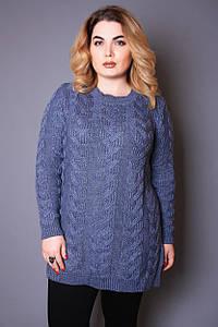Светр жіночий великого розміру Коси (4 кольори), светр жіночий для повних