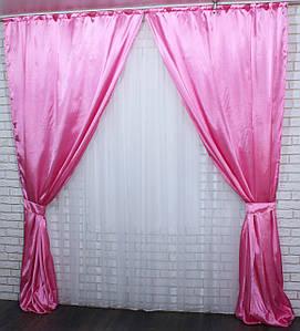 Комплект готовых штор из атласа. Цвет розовый. №05