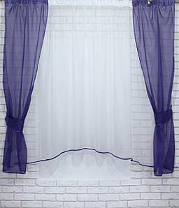 Комплект кухонні шторки з підв'язками. Колір фіолетовий з білим №051к 50-078