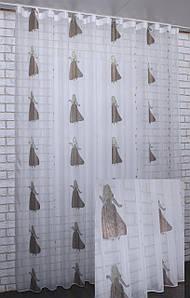 """Тюль (3х2,5м).на шифоновою основі з вишивкою """"Принцеса"""". Код 529т 40-193"""