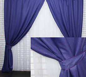 "Комплект (2шт 1,5х2готовых светонепроницаемых штор, ""Лён Мешковина"", цвет фиолетовый. Код 321ш 30-346"