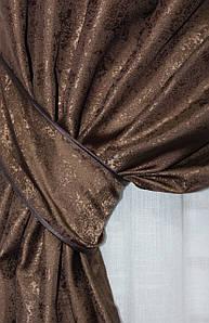 "Шторнаятканьжаккард, коллекция ""Мрамор Al1"", высота 2,8м. Цвет коричневый. Код 660ш"