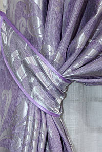 """Шторна тканина жаккард, колекція """"Лілія"""", висота 2,7 м. Колір бузковий. Код 684ш"""