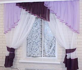 Кухонні завісь, шторки з ламбрекеном.(1,5х1,7м.) Колір білий з фіолетовим. На карниз 1,5 №49 50-093