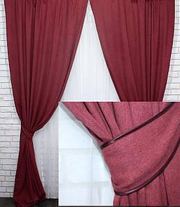 """Шторы (2шт.1,5х2,75м) из ткани блэкаут с атласной основой, коллекция """"Амели"""". Цвет бордовый. Код 589ш 30-353"""