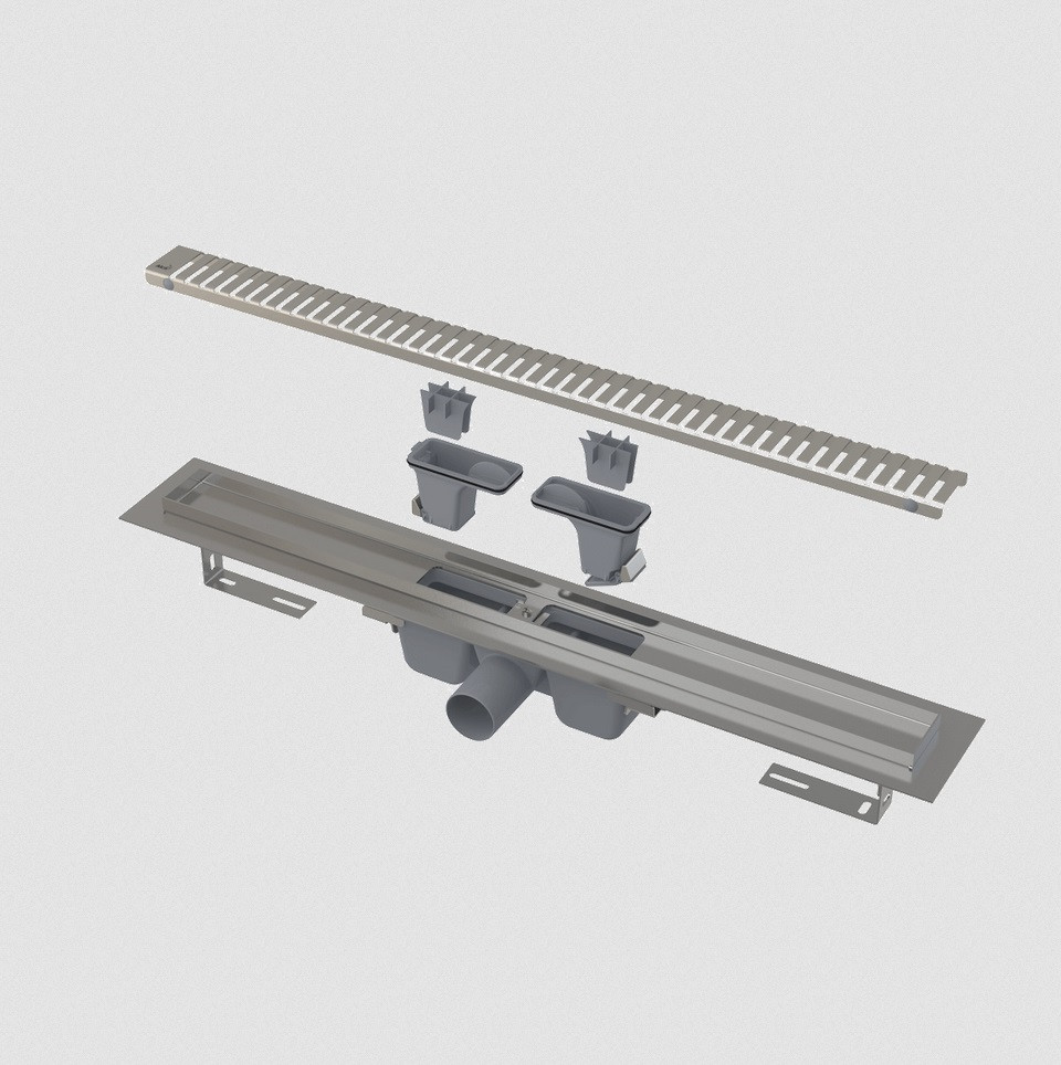 Водоотводящий желоб с порогами для перфорированной решетки,  750мм