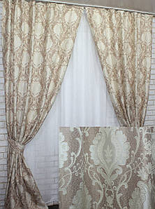 "Шторы (2шт.1х2.7м) из плотной ткани лен ""Корона Мария"", Цвет пудра с бежевым. Код 642ш 31-113"