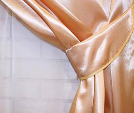 Однотонна тканина атлас. Ширина в рулоні 1,5 м. Колір золотистий. 023ша