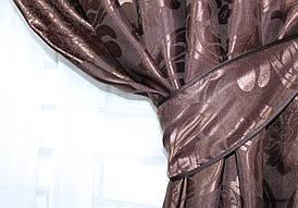 """Шторна тканина жаккард, колекція """"Ліон"""", висота 2,8 м. Колір венге Код 530ш"""