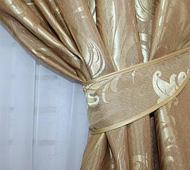 """Шторнаятканьжаккард, коллекция """"Лилия"""", высота 2,7м. Цвет золотистый. Код 501ш"""