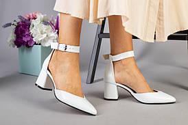 Белые кожаные босоножки, каблук 6 см