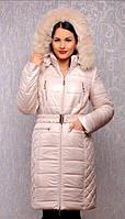 TM Ozze Пуховик женский К 124 зима с песцом молочный OZZE