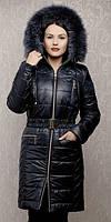 TM Ozze Пуховик женский К 124 зима с песцом черный OZZE