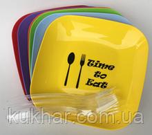 Набір тарілок з малюнком та виделками (6 шт)  кольори в асортименті (185*185*25мм)