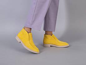 Желтые замшевые демисезонные лоферы