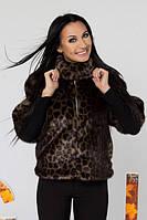 ТМ Ghazel Шуба женская Норка коричневый леопард Ghazel