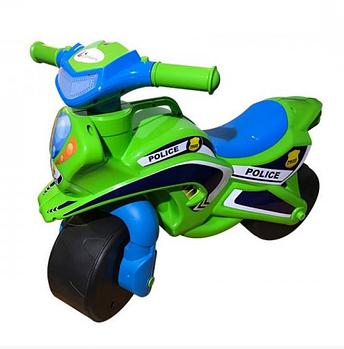 Мотоцикл беговел дитячий Doloni Поліція, салатовий