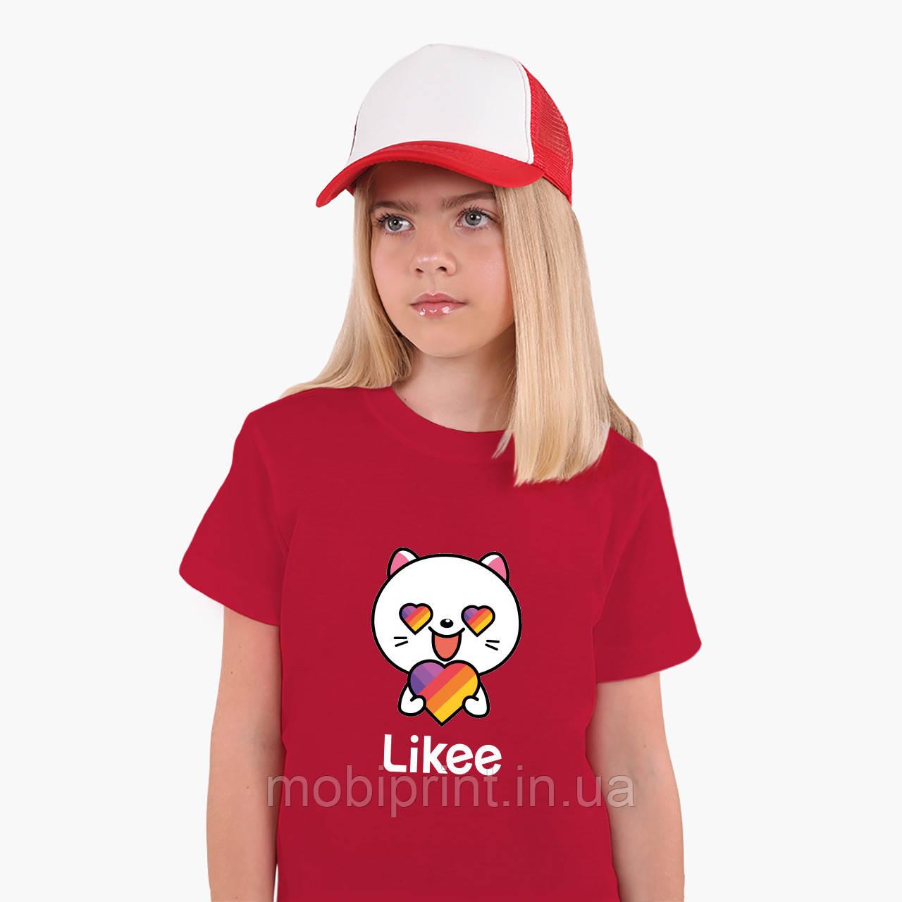 Детская футболка для девочек Лайк Котик (Likee Cat) (25186-1036) Красный
